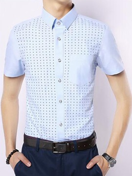 Polka Dots Mens Short Sleeve Shirt With Chest Pocket