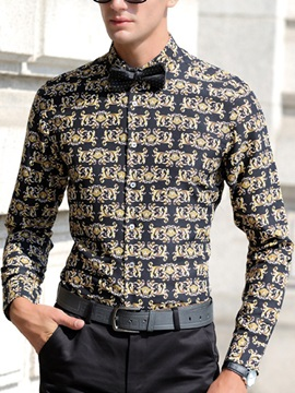 Cotton Blends Long Sleeve Mens Floral Shirt