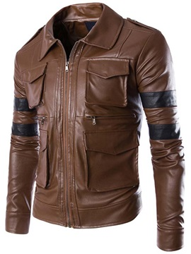 Multi Pocket Zip Mens Pu Jacket