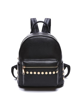 Chic Rivets Decorated Pure Color Backpack