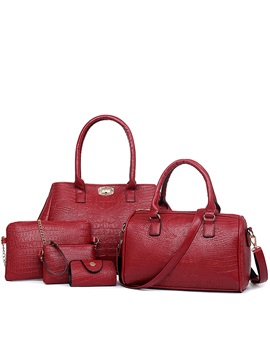 Classic Crocp Embossed Pure Color Womens Bag Set Five Bags