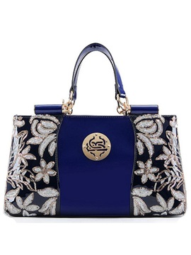 Euramerican Style Floral Decorated Womens Satchel
