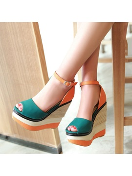 Contrast Color Peep Toe Wedge Sandals
