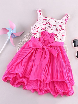 Lace Crochet Pleated Girls Dress