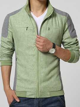 Color Block Chest Zip Mens Casual Jacket