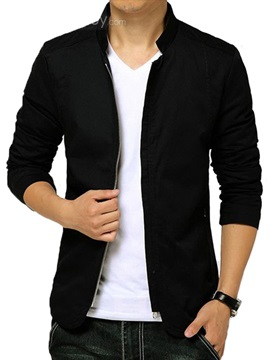 Stand Collar Plain Mens Jacket