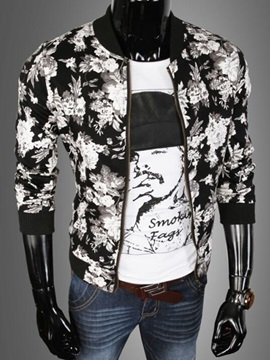 Stand Collar Zipper Mens Floral Printed Jacket