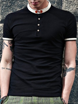 Stand Collar Casual Mens Slim Fit Polo