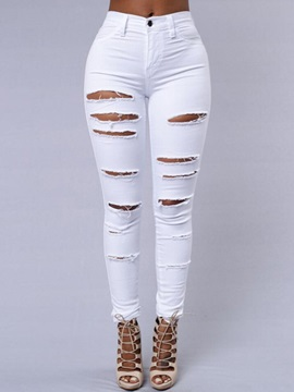 Solid Color Ripped Boyfriend Jeans