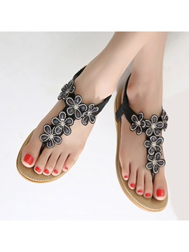 Boho Rhinestone Thong Elastic Band Beach Sandals