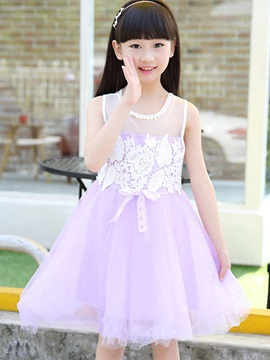 Back Zippered Crochet Girls Dress