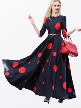 Polka Dots 3 4 Sleeve Slim Maxi Dress
