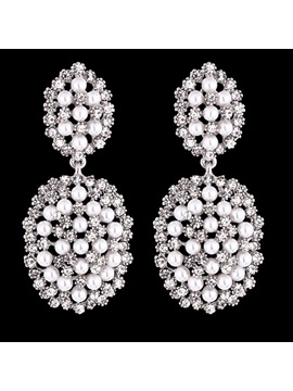 Shining Full Rhinestones Pearls Earrings