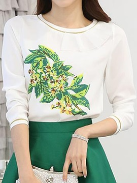 Rural Style Pattern Round Collar Blouse