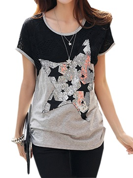 Stylish Big Star Pattern Slim T Shirt