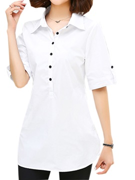 Chic Button Decoration Cuff And Collar Shirt