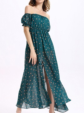 Sisjuly Polka Dots Off The Shoulder Maxi Dress
