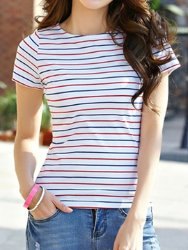 Stylish Color Stripe Slim T Shirt