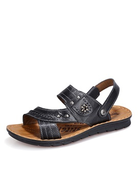 Pu Studded Slingback Sandals For Men