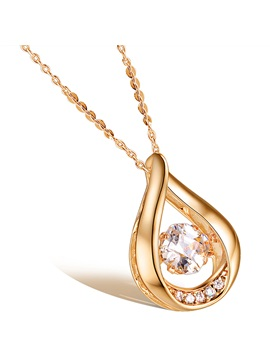 Water Drop Shaped Hollow Pendant Necklace