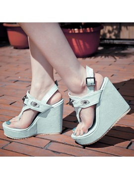 Ethnic Pu Buckles Wedge Sandals