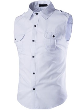 Solid Color Chest Pocket Mens Sleeveless Shirt