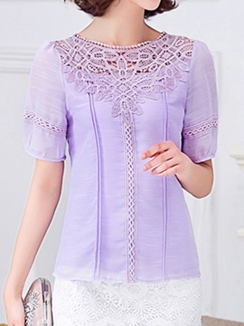 Chic Hollow Lace Collar Short Blouse