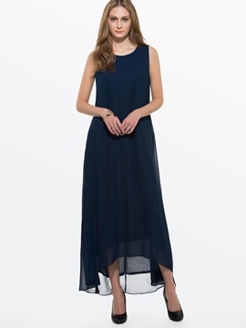 Sleeveless Asymmetric Straight Maxi Dress