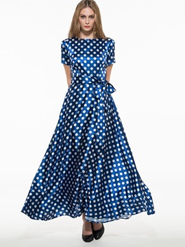 Slash Neck Polka Dots Expansion Dress
