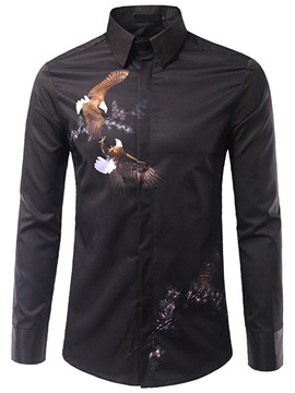 Chest Print Long Sleeve Mens Shirt
