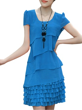 Solid Color Asymmetrical Short Sleeve Day Dress