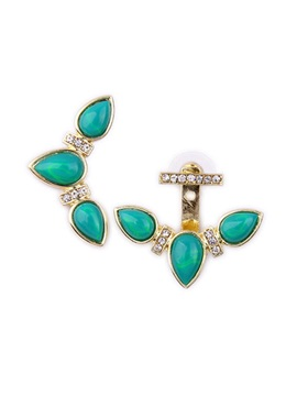 Lovely Alloy Green Gemstones Women Earrings