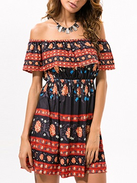 Off The Shoulder Empire Waist Ethnic Day Dress