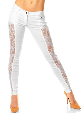 White Lace Hollow Women Jeans