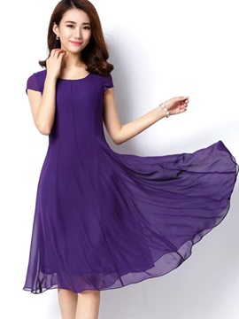 Plain Short Sleeve Day Dress