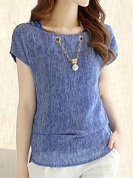 Stylish Decoration Collar Short Blouse