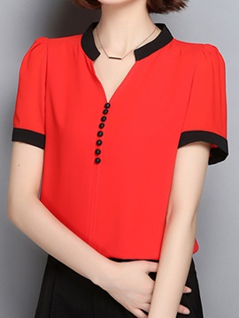Ol Button Decoration Slim Blouse