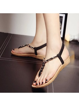 Pu Studded Thong Flat Sandals