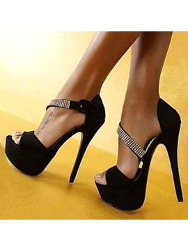 Black Rhinestone Peep Toe Sandals