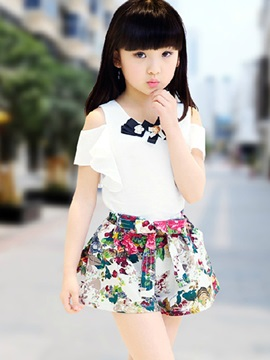 Falbala Blouse Floral Print Skirt Girls Outfit