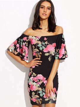 Slash Neck Flare Sleeve Floral Print Bodycon Dress