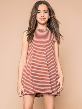 Colored Stripe Sleeveless Girl's Kniting Dress