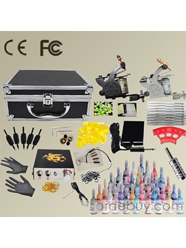 Beginner 2 Machines Tattoo Kit And Power Supply 40 Color Inks