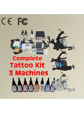 Complete Tattoo Kit With 3 Machines And A Great Power Supply 8 Inks 50 Needles