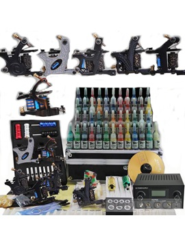 Professional Complete Tattoo Kit With 6 Machines 54 Inks And A Refined Power Supply D111