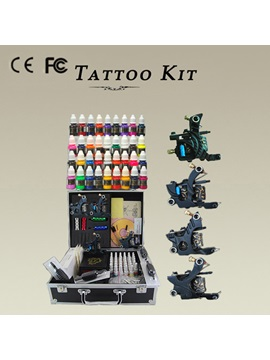 4 Tattoo Machine Guns 40 Ink Power Set Complete Tattoo Kit With Lcd Power Supply