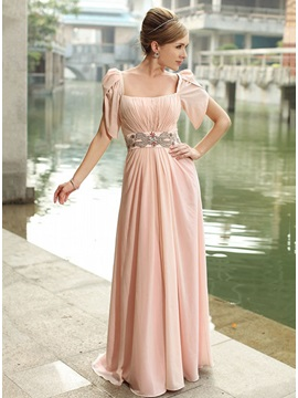 Gorgeous A Line Square Neckline Beading Short Sleeves Floor Length Evening Dress