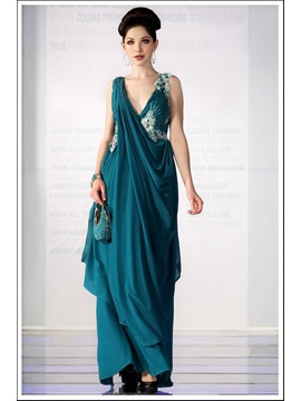 Modern A Line V Neck Sleeveless Floor Length Appliques Evening Dress