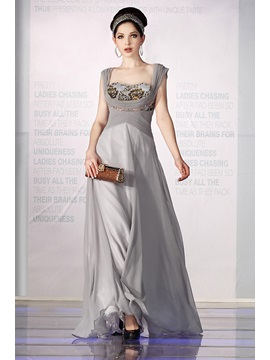 Elegant A Line Square Neckline Empire Waistline Beading Floor Length Evening Dress