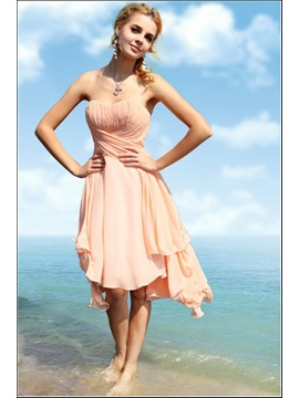 Cheap A Line Sweetheart Asymmetric Ruched Chiffion Homecoming Dress